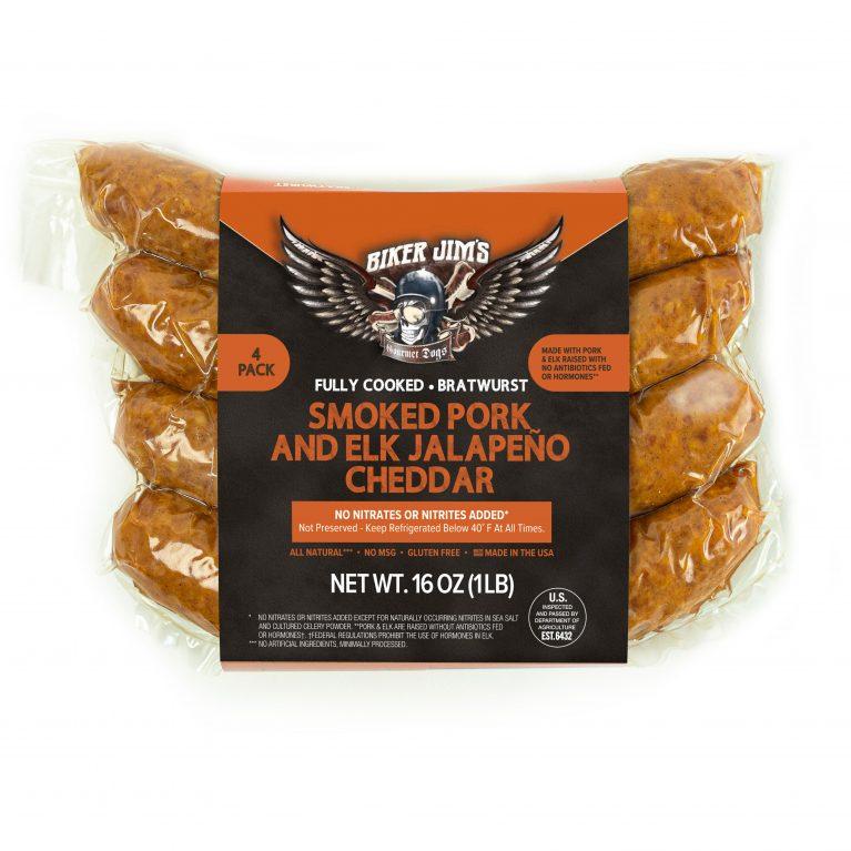 Biker Jim's smoked pork and elk jalapeño cheddar sausage